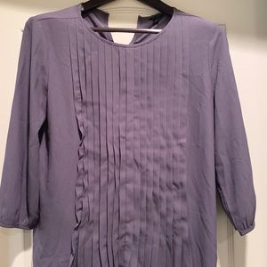 Ann Taylor Purple Ruffle Long-Sleeved Blouse Sz S
